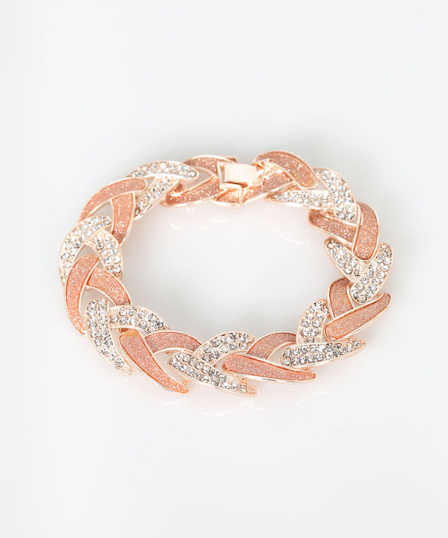 Linked Crystal & Glitter Chain Bracelet, Rose Gold/Rose Petal, hi-res