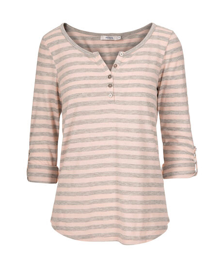 Roll Cuff Henley Top, Grey/Pink, hi-res