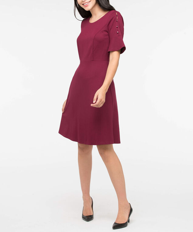 Button Trim Bell Sleeve Dress, Burgundy, hi-res