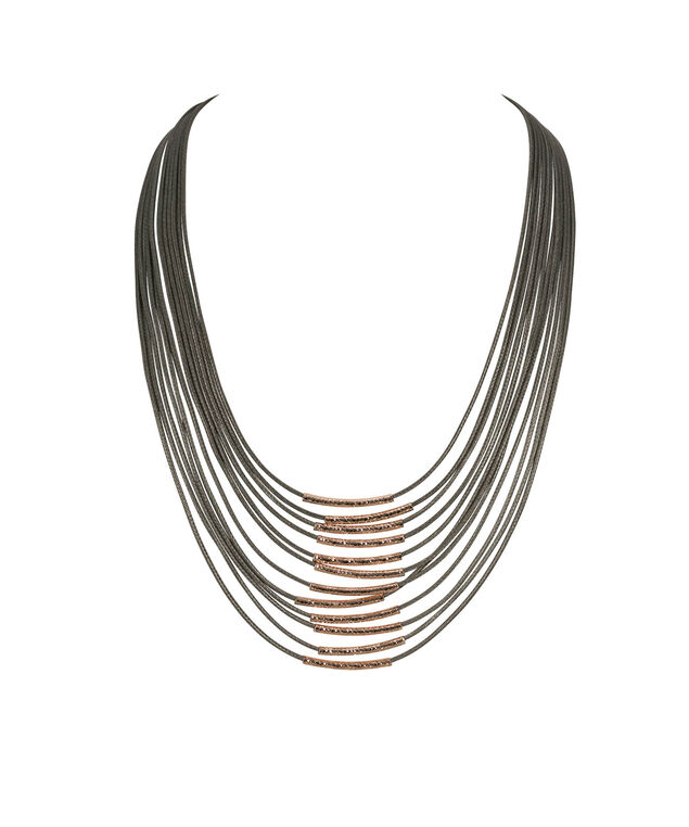 Cord & Hammered Metal Necklace, Silver Grey/Rose Gold, hi-res