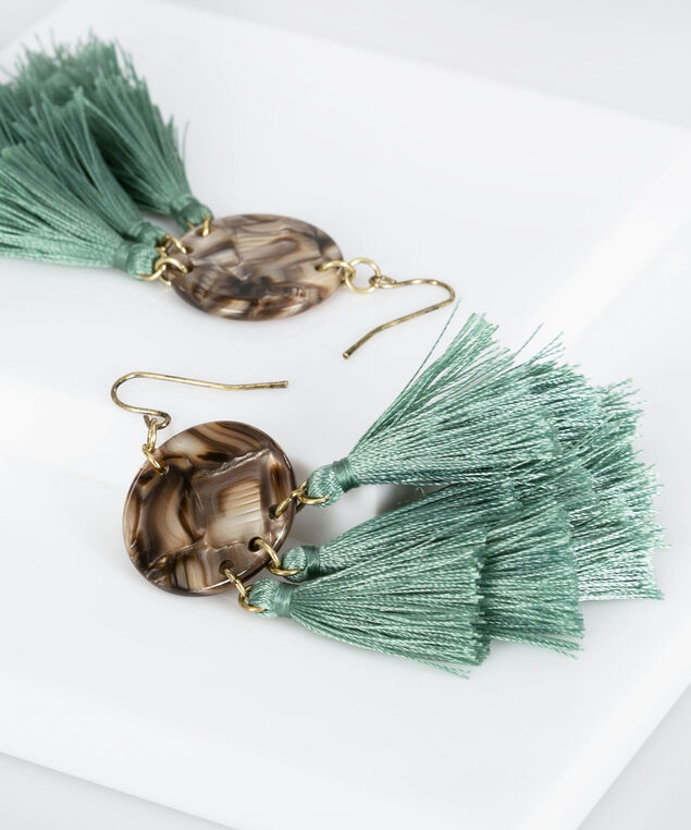 Resin Disc & Tassel Earring, Light Sage, hi-res