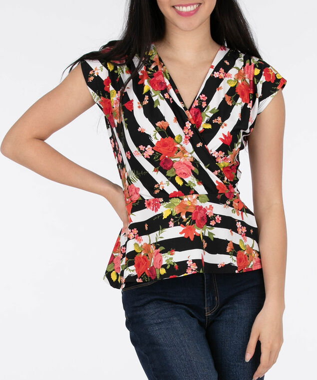 Extended Sleeve Crossover Top, White/Black/Tangerine, hi-res