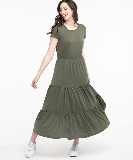 Short Sleeve Tiered Maxi Dress, Thyme, hi-res