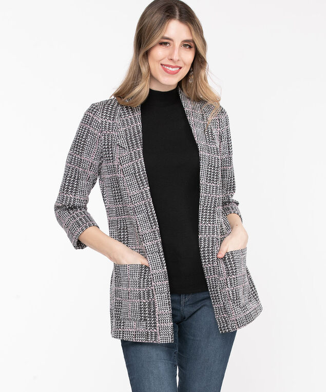 Plaid Notch Collar Open Jacket, Black/Pink Plaid