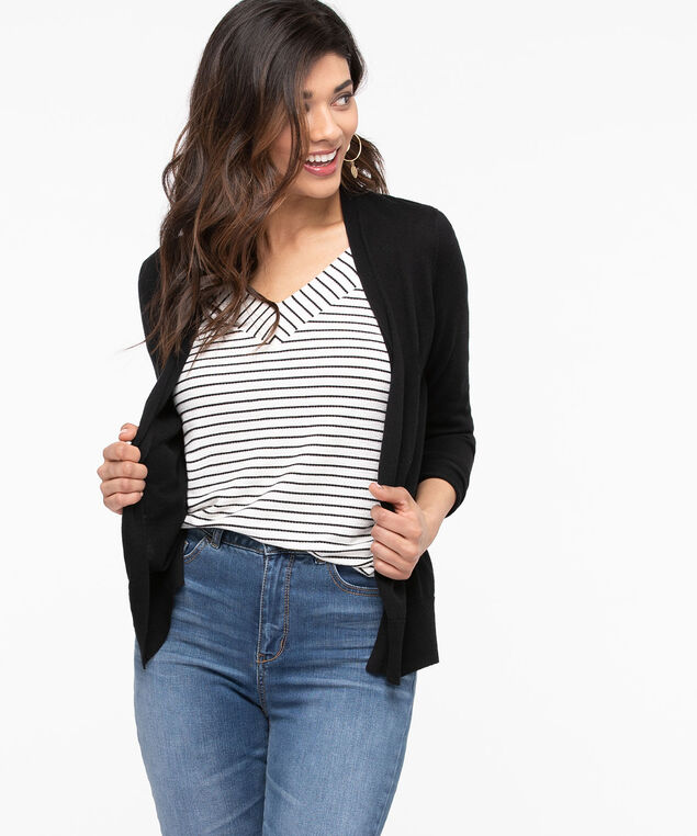 Pointelle Detail Basic Open Cardigan, Black, hi-res