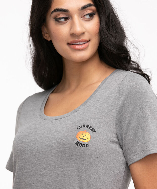 Scoop Neck Embroidered Graphic Tee, Pewter Pumpkin