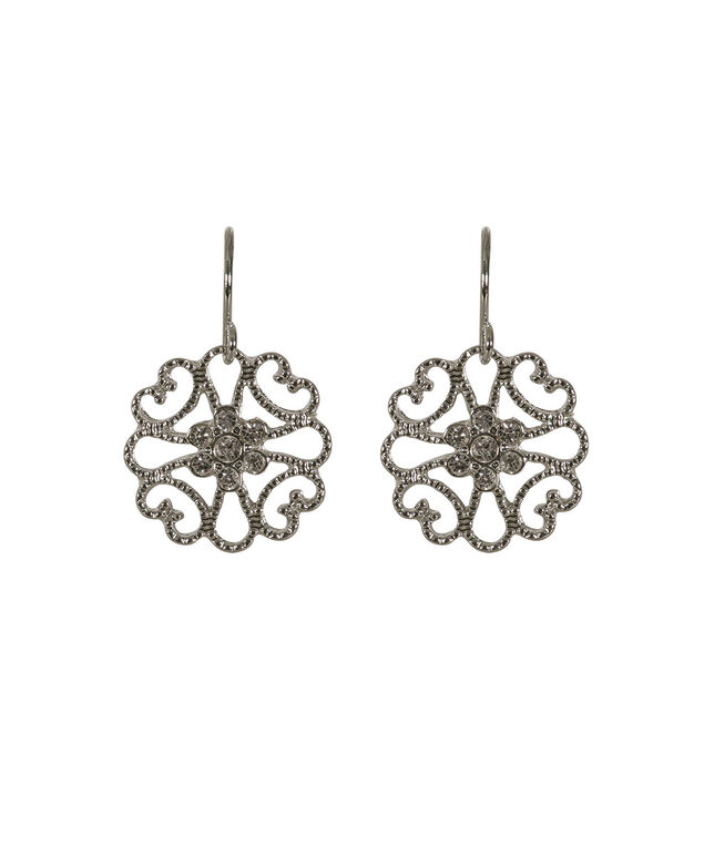 Small Filigree Flower Drop Earring, Clear/Rhodium, hi-res