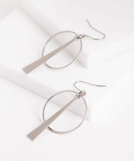 Linear Triangle & Hoop Earring, Silver, hi-res