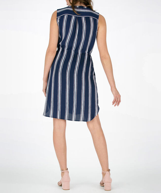 Vertical Stripe Sleeveless Shirt Dress, Deep Sapphire/Coral/Pearl, hi-res