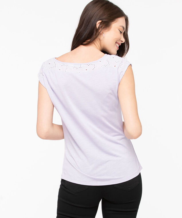 Eyelet Embroidery Trim Top, Lilac, hi-res