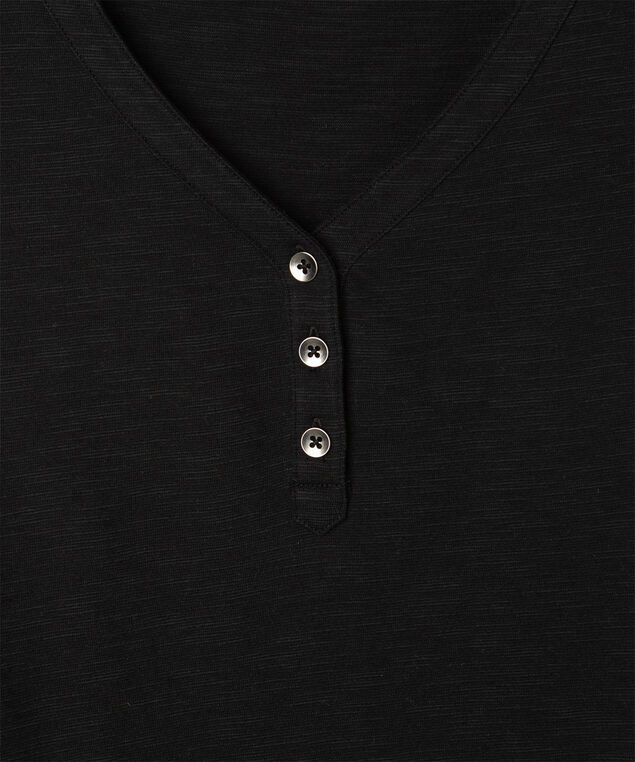 Short Sleeve Henley Tee, Black, hi-res