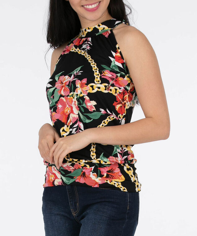 Sleeveless Mock Neck Top, Black/Pink/Yellow, hi-res