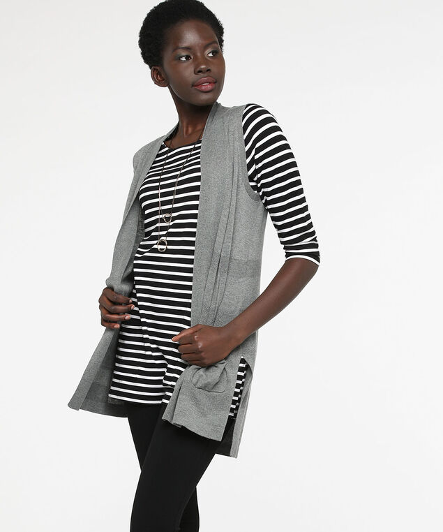 Textured Stripe Open Sweater Vest, Grey, hi-res