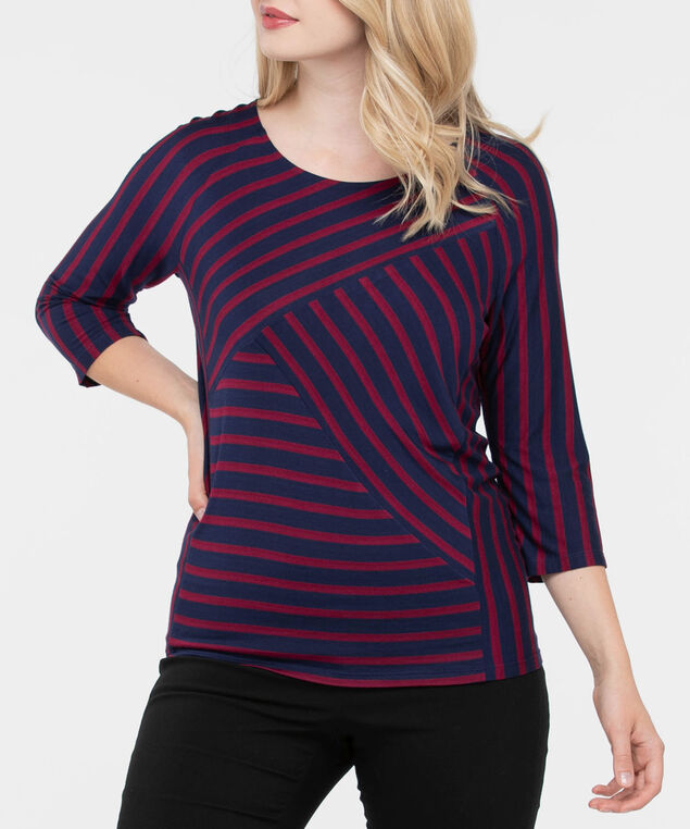 Spliced Striped Knit Top, Deep Sapphire/Burgundy, hi-res