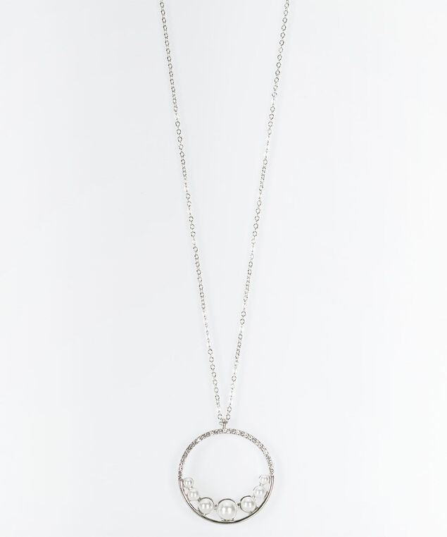 Pearl & Crystal Pendant Necklace, Rhodium, hi-res