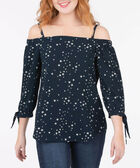 Starry Print Off-the-Shoulder Blouse, Deep Sapphire/Pearl, hi-res