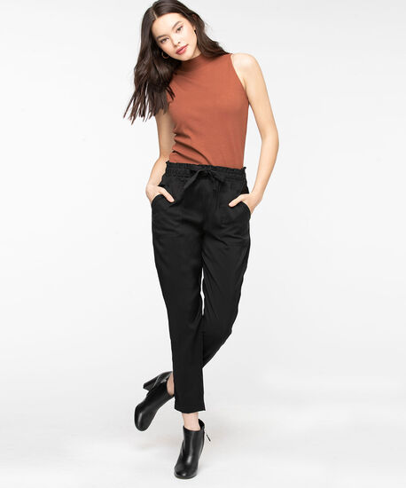 Tie Waist Tapered Pant, Black, hi-res