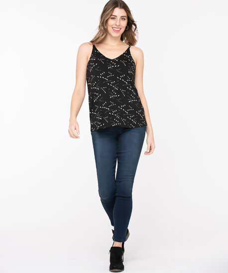 Strappy Patterned Double-V Top, Black/Pearl, hi-res
