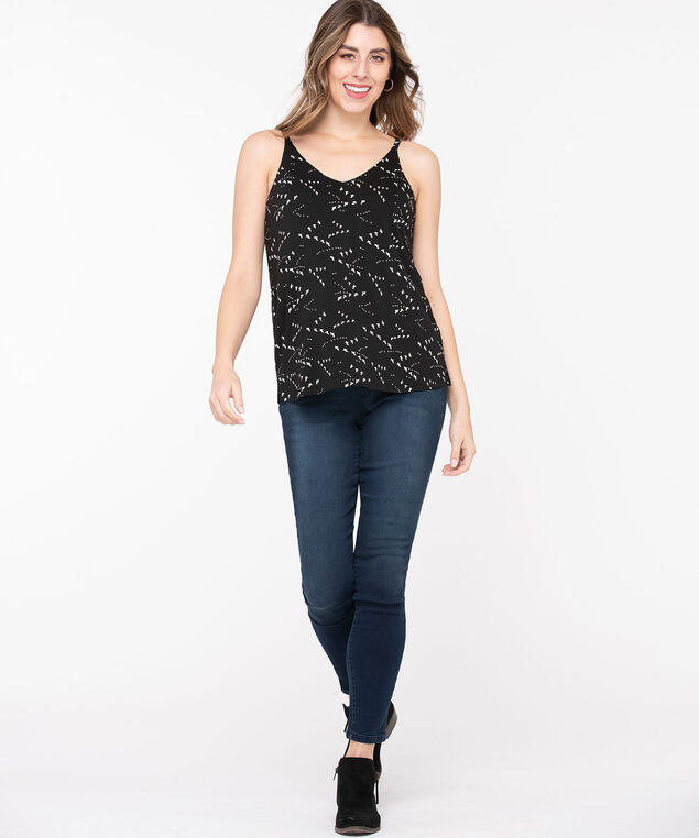 Strappy Patterned Double-V Top, Black/Pearl