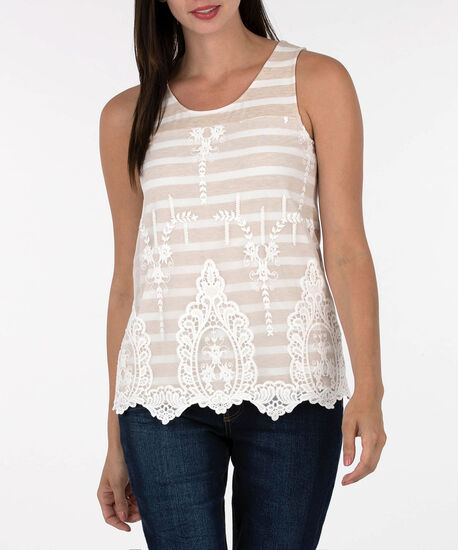 Sleeveless Lace Overlay Stripe Top, Oatmeal/Pearl, hi-res