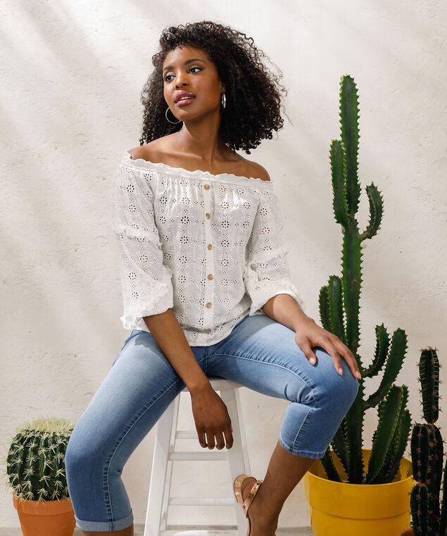 Democracy Eyelet Off Shoulder Blouse, Pearl, hi-res