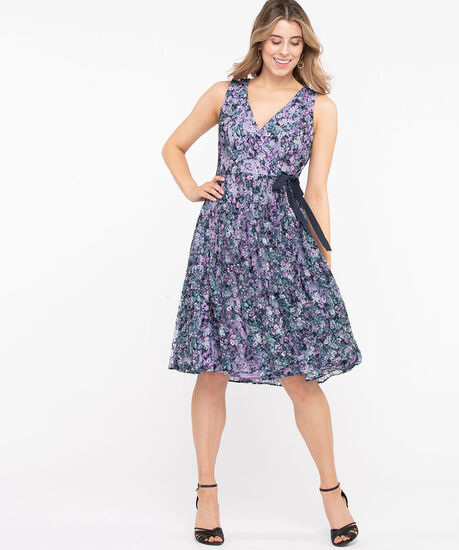 Lace Pleated Fit & Flare Dress, Lilac/Summer Navy, hi-res