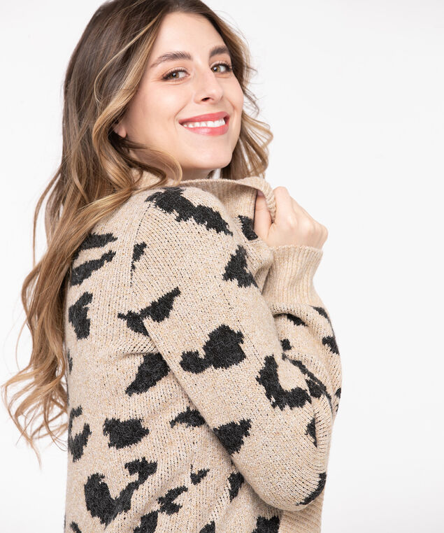 Animal Print Tunic Length Cardigan, Camel/Black