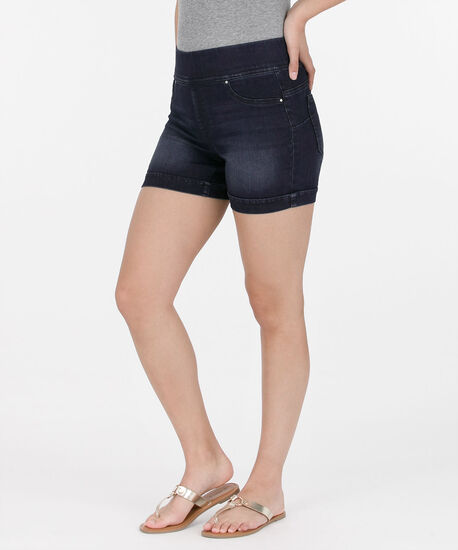 Dark Knit Cuffed Jean Short, Dark Blue, hi-res