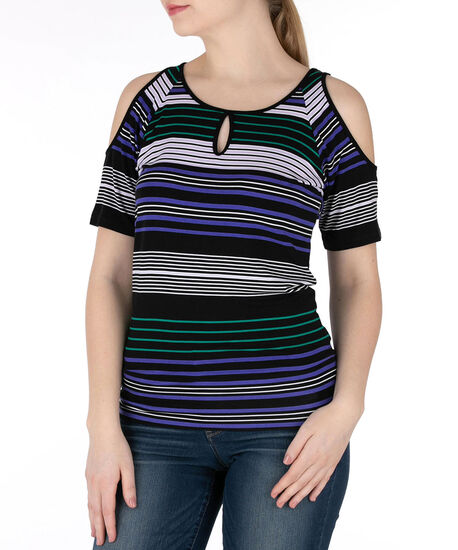 Keyhole Cold Shoulder Top, Purple/Green/Black/White, hi-res