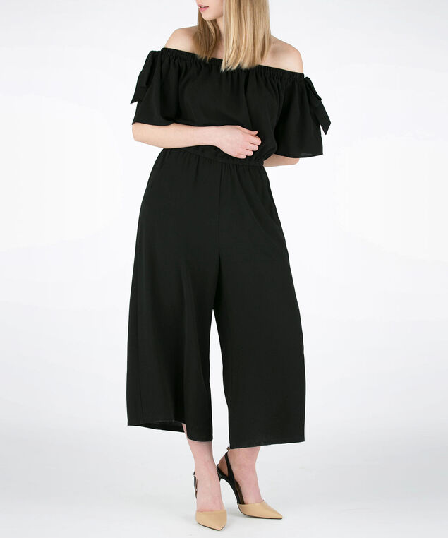 Flutter Sleeve Off Shoulder Jumpsuit, Black, hi-res