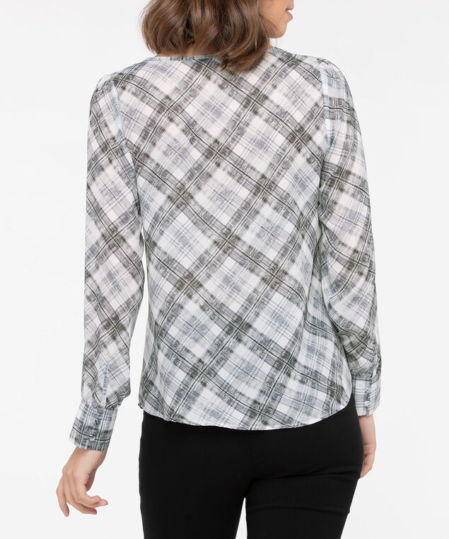 Long Sleeve Wide Cuff Plaid Blouse, Mid Heather Grey/Pearl, hi-res