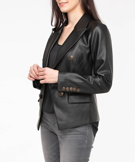 Faux Leather Double Breasted Blazer, Black, hi-res