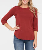 3/4 Raglan Sleeve Knit Top, Rust, hi-res