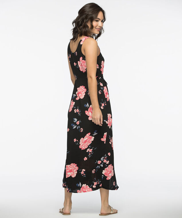 Button Front Maxi Dress, Black/Pink/Blue, hi-res