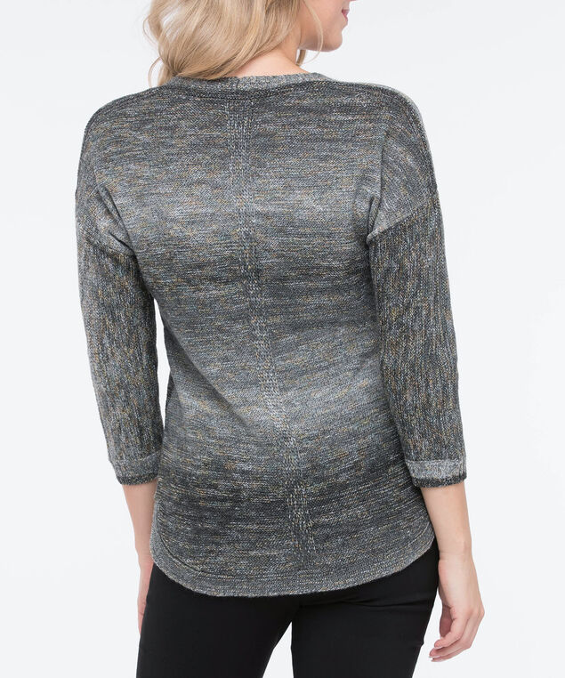 Curved Hem V-Neck Sweater, Black/Grey/Marigold, hi-res