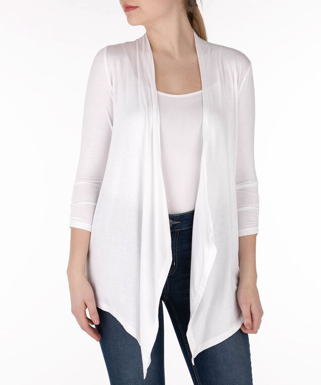 Drape-Front Grommet Back Cardigan, True White, hi-res