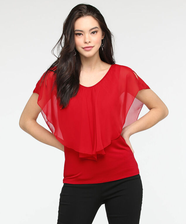 Cold Shoulder Cape Overlay Top, Hibiscus, hi-res