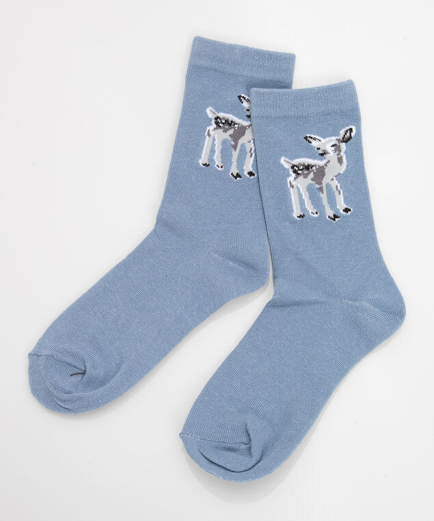 Deer Placement Socks, Steel Blue/Pearl/Grey, hi-res