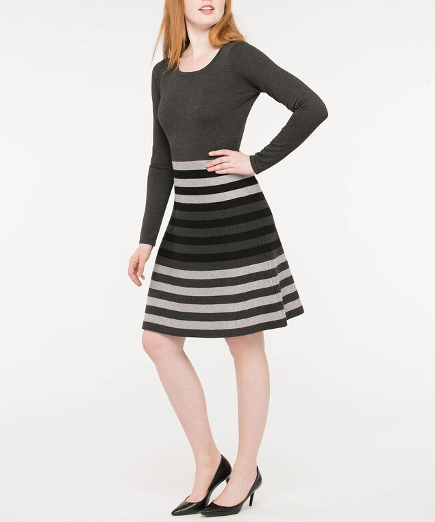 Striped Colourblock Sweater Dress, Charcoal/Grey/Black, hi-res