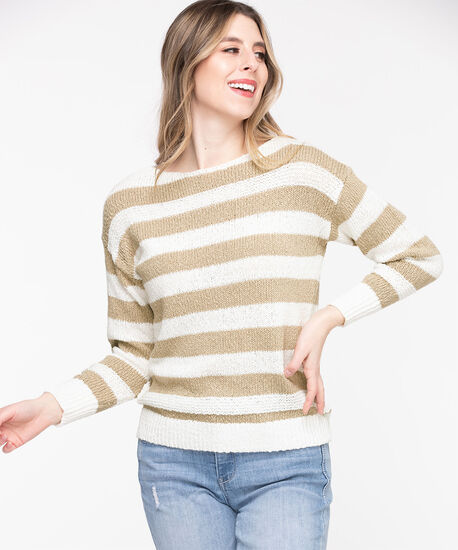 Stripe Slub Knit Pullover Sweater, Cement/Whisper White, hi-res