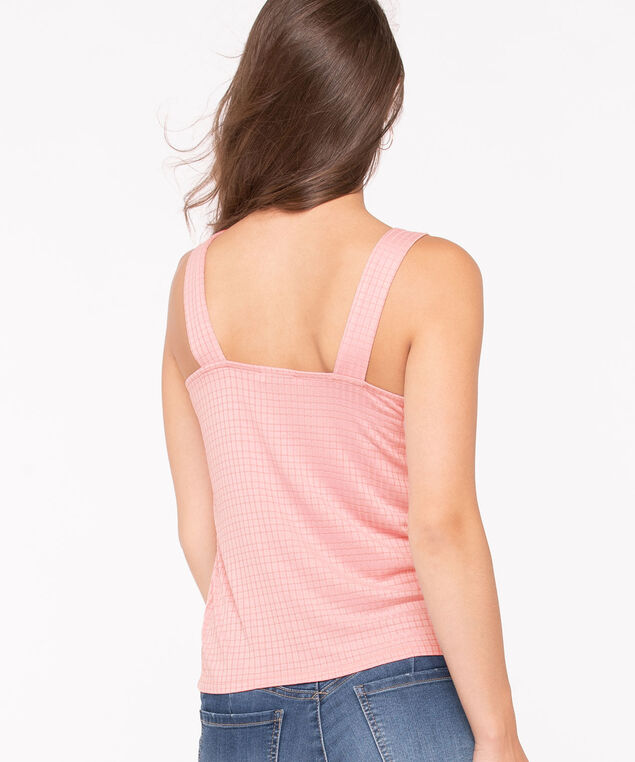 Sleeveless Textured Buckle Top, Apricot, hi-res