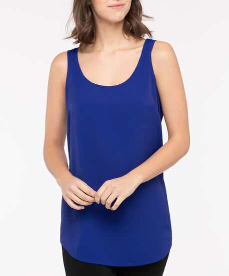 Scoop Neck Woven Layering Cami, Bright Blue, hi-res