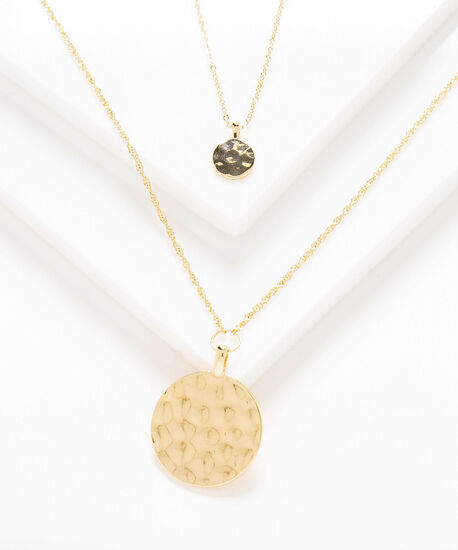 Long Layered Pendant Necklace, Gold, hi-res