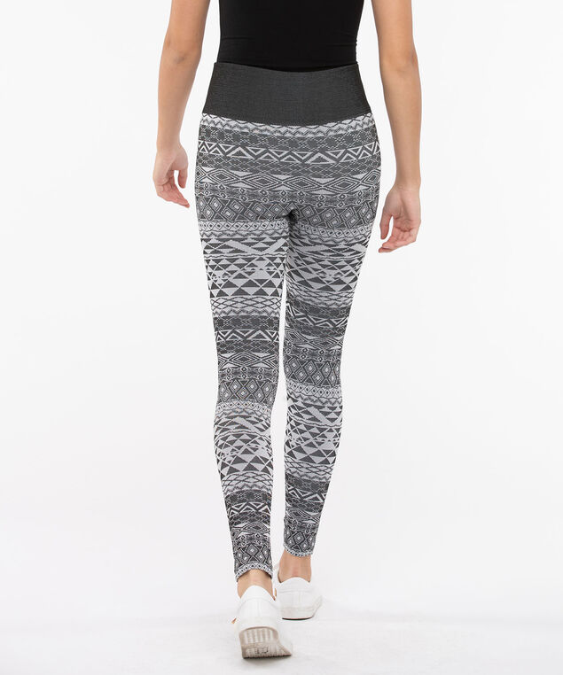 Jacquard Fleece Lined Knit Legging, Charcoal/Grey, hi-res
