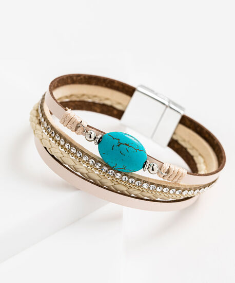 Multistrand Faux Leather Bracelet, Beige/Turquoise, hi-res