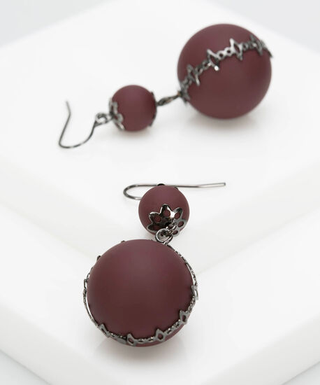 Double Matte Bead Drop Earring, Burgundy/Hematite, hi-res
