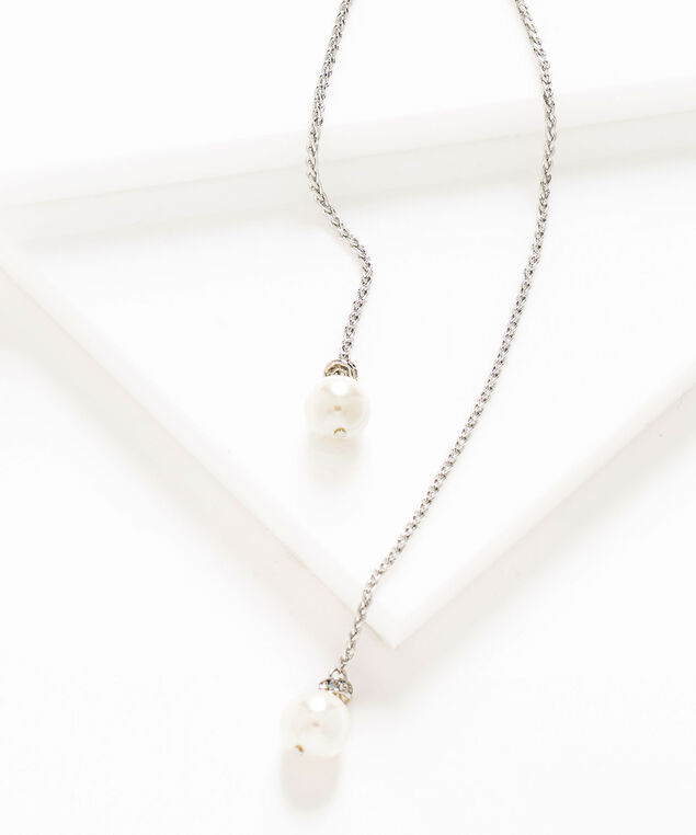 Long Adjustable Pearl Lariat Necklace, Silver/Pearl