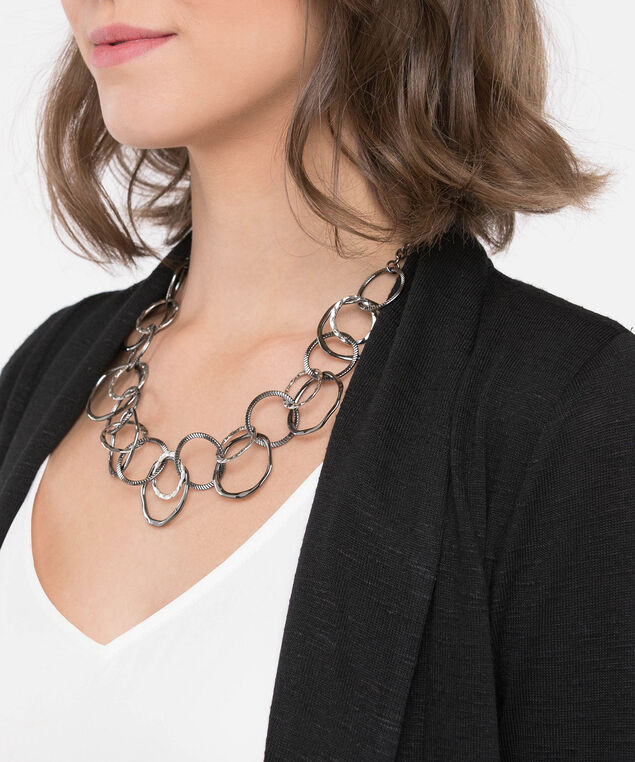 Intertwined Mixed Metal Statement Necklace, Rhodium/Hematite, hi-res