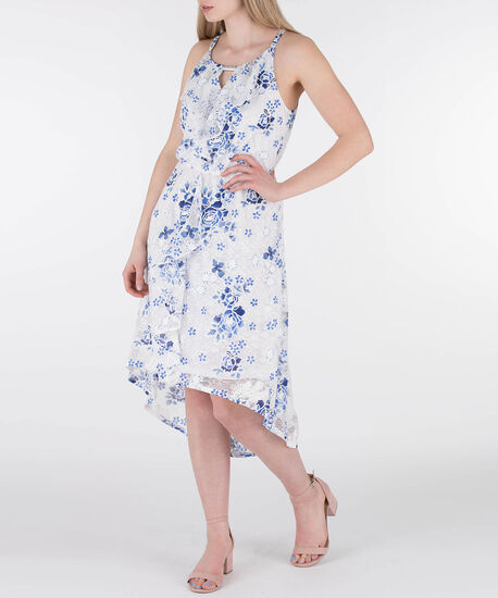 Ruffle Front High-Low Lace Dress, White/Deep Sapphire, hi-res