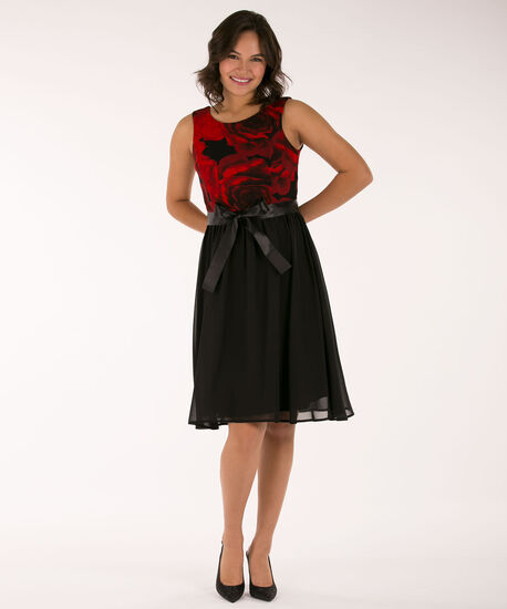 Rose Print Chiffon Skirt Dress, Cherry/Black, hi-res